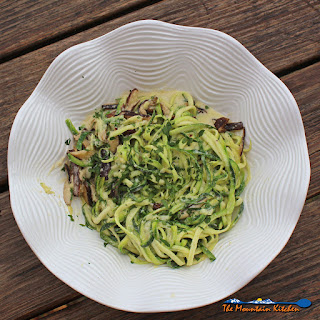 Low Carb Zucchini Alfredo with Shiitake Mushrooms