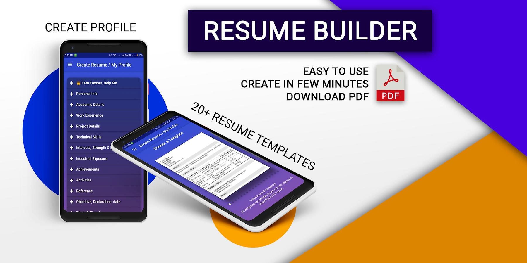 resume builder pro 3 min free cv maker templates screenshot - Resume Builder For Freshers