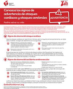 Signos de alarma de ataques cardíacos y accidentes cerebrovasculares en mujeres