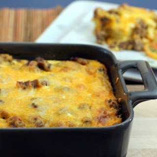 Breakfast Casserole with Sausage, Eggs, and Biscuits Recipe