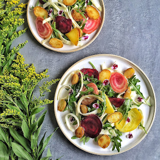 Celeriac, Beet & Potato Salad with Horseradish Vinaigrette