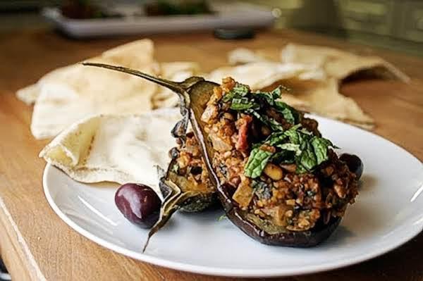 North African Bulgar Stuffed Baby Eggplant Recipe