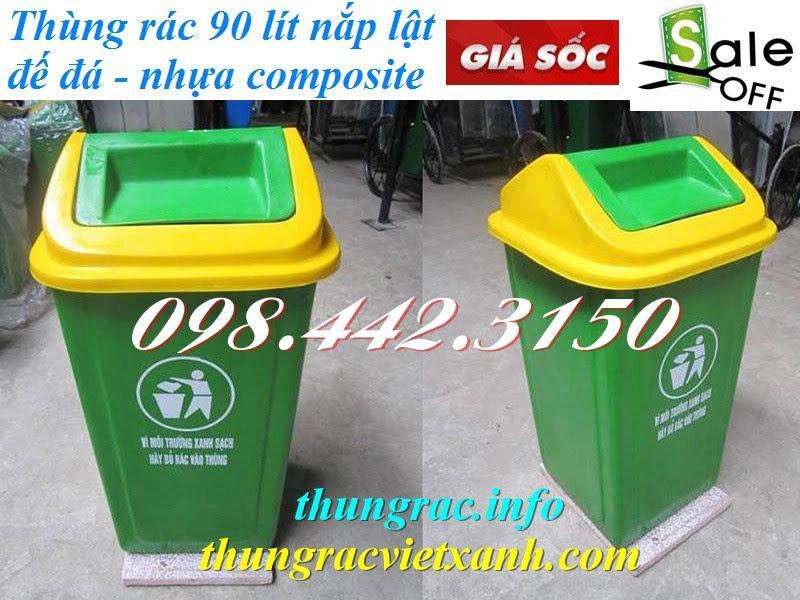 Thùng rác 90 lít nắp lật nhựa composite