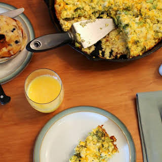 Broccoli and Cauliflower Quiche with Hash Brown Crust.