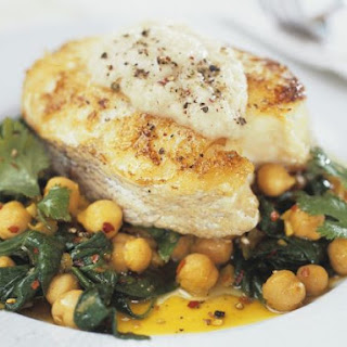 Halibut with Garbanzo Beans