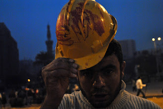 Photo: A hard hat showing the blood of one of the victims.