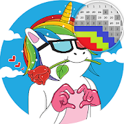 Unicorn fun pixel art - Color by number
