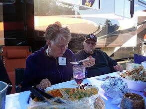Photo: De Pitts enjoying the crab , Jim Crimmins looking on