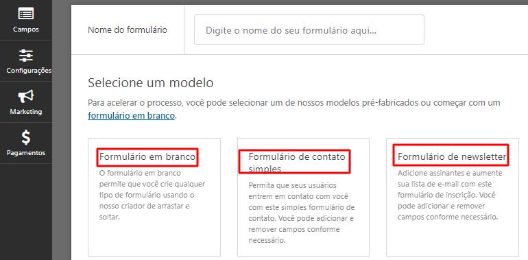 modelos de formulários prontos no plugin WPForms