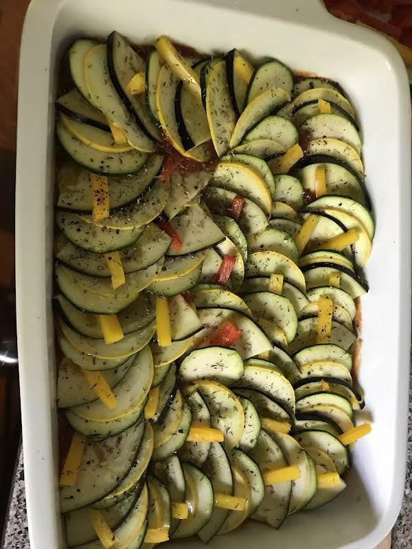 Layered Summer Squash, Eggplant, And Zucchini,