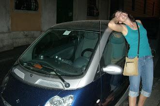 Photo: Teresa enjoys the Smart Car in Rome
