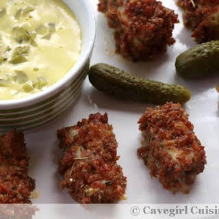 Bacon Breaded Fish Nuggets with Tartar Sauce (bacon breading).