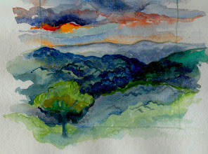 Photo: 1999 Last Sunset at Neal's Valley. Ridgeway, WI. Watercolor.