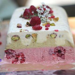 Raspberry, Pistachio, and Vanilla Semifreddo.