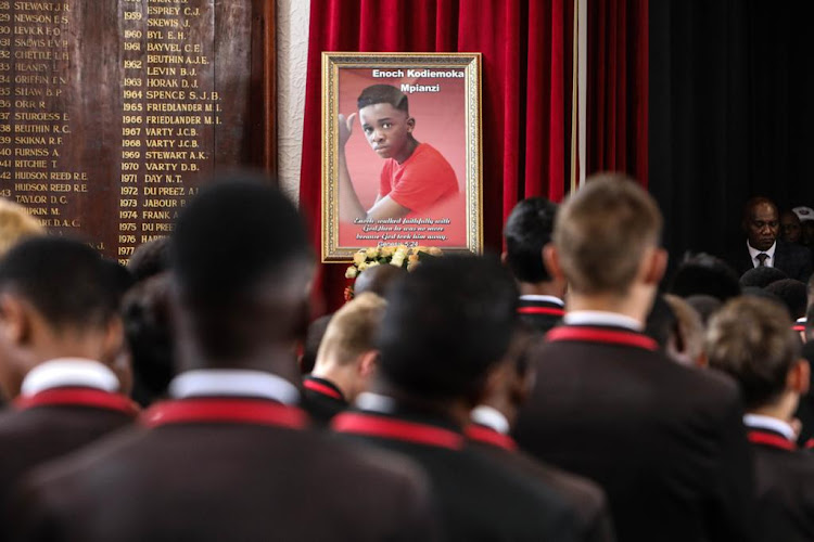 Pupils attend the memorial service for Enock Mpianzi at Parktown Boys' High on Tuesday.
