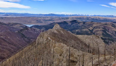 Photo: Upper Holter Lake where I started on left - I climbed this last little peak before heading down to the river.