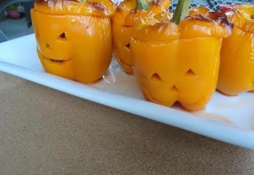 """Jack O Lantern Stuffed Peppers Recipe """"What a cute meal to have..."""