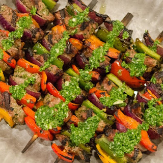 Chimichurri Marinated Ribeye Steak Skewers