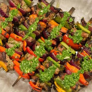 Chimichurri Marinated Ribeye Steak Skewers.