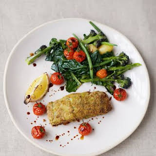 Crumbed Pesto Fish, Roasted Cherry Vines, Spuds and Greens.