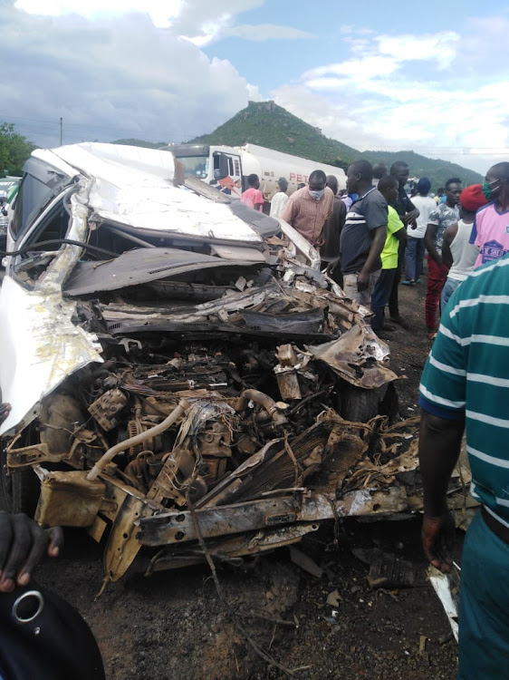 The matatu that was involved in a fatal accident at Kisian junction on the Kisumu-Busia road on Monday, May 11