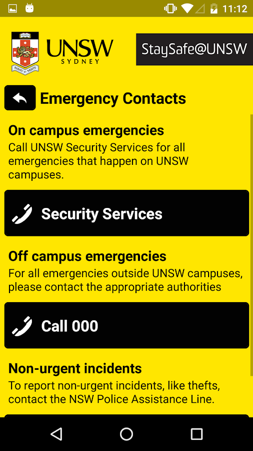 StaySafe@UNSW- screenshot