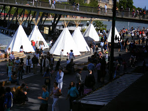 Photo: There's some special event along the Seine, which is not uncommon, although I suspect that tepees are.