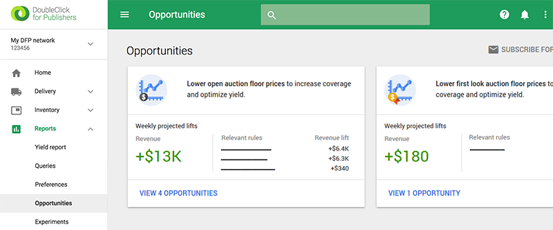 Screenshot of DFP Opportunities product interface