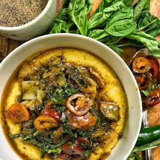 Vegan Garlic Braised Collard Greens & Cabbage Over Creamy Jalapeno Grits.