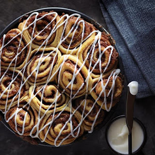 Homemade Cinnamon Rolls with Cream Cheese Frosting.