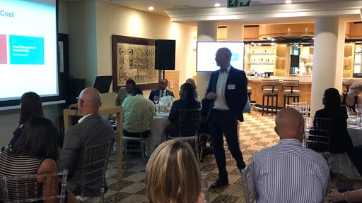 Wolfgang Emperger from Infor presenting on hospitality industry trends at the JHB Launch.