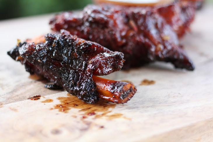 Smoky Beef Ribs with Sriracha BBQ Beer Sauce Recipe