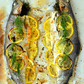 Whole Baked Trout with Herb Salsa.