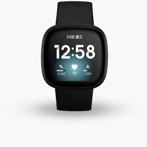 採用黑色鋁製材質的黑色 Fitbit Versa 3