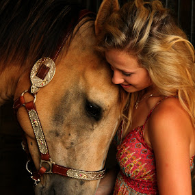 My best friend by Freda Nichols - Animals Horses ( friends, girl, woman, horse, equestrian, close, , Emotion, portrait, human, people )