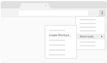 "Find ""Create shortcut"" under ""More tools"""