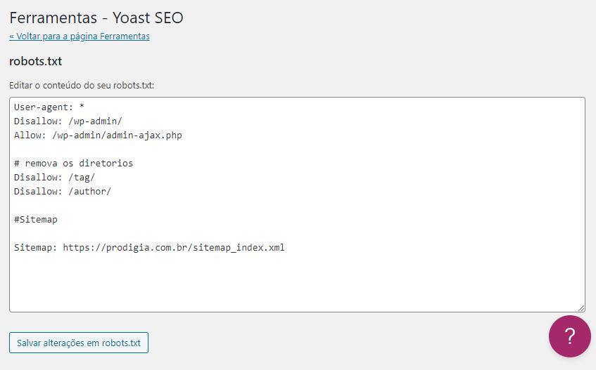 Como alterar robost.txt pelo editor de texto do plugin