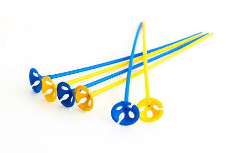 Ballongpinnar 10-pack - gula & blå