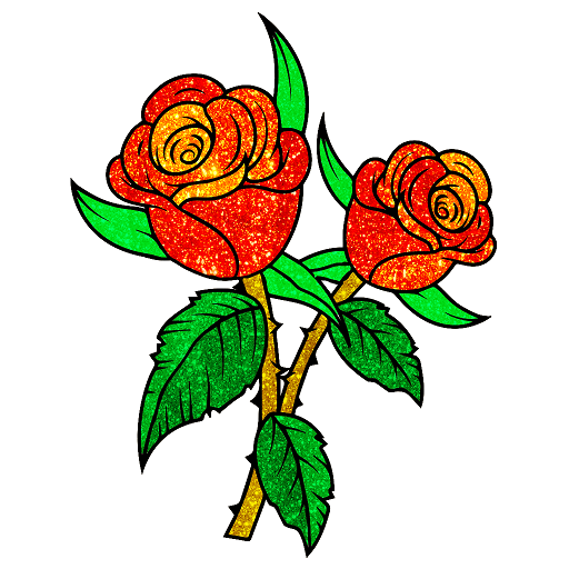 Flowers Glitter Color by Number - Adult Coloring Icon