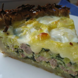 Potato Crusted Sausage, Leek and Spinach Quiche.