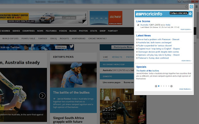 ESPNCricinfo chrome extension