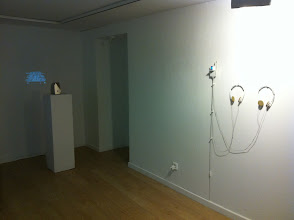 """Photo: LEFT: portable sculpture (2010) from """"my temporary visiting position from the sunset terrace bar"""" (2007-08); RIGHT: Sculpture (2007/09) from """"the possible ties between illness and success"""" 2006-07"""