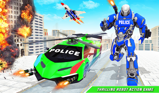 Flying Police Helicopter Car Transform Robot Games screenshots 12