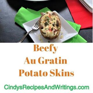 Beefy Au Gratin Potato Skins.