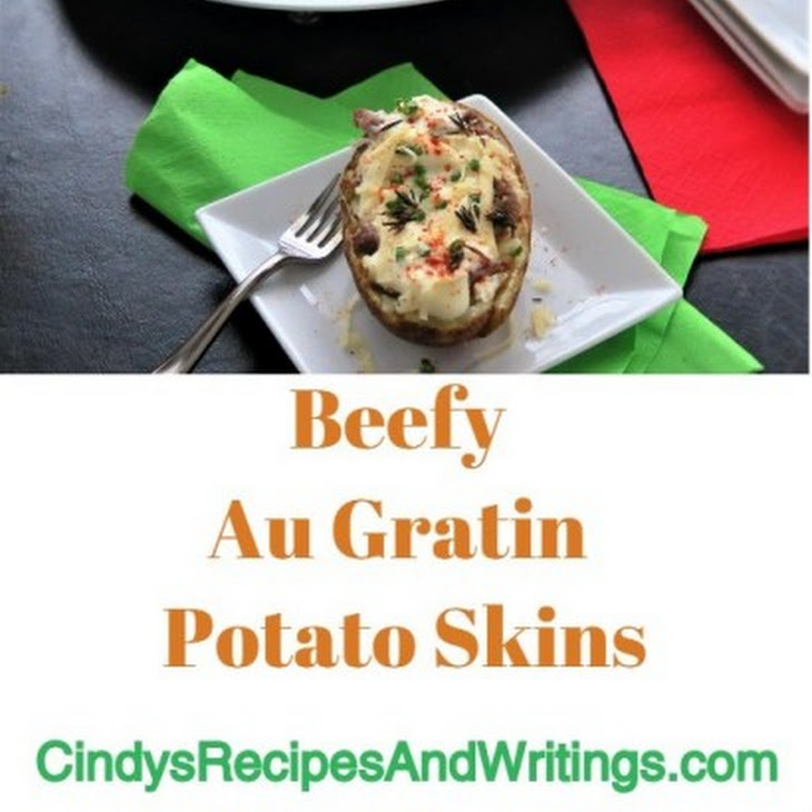 Beefy Au Gratin Potato Skins Recipe