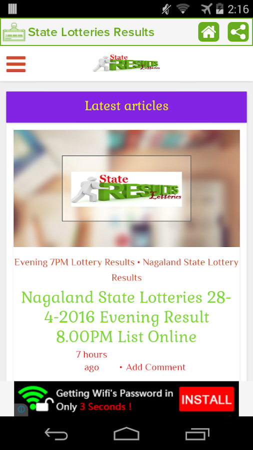 State Lotteries Results- screenshot
