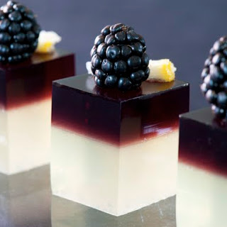 Blackberry Gin Sour Jello Shots.