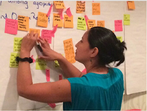 Photo: Submitted by CORE Group  A participant at this week's Theory of Change (TOC) Training in Washington, DC works through an exercise leading toward developing a TOC. The training is designed and taught by TANGO International.