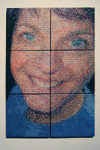 """Photo: """"Marcia"""" A tiling of a portrait of my wife in six six-inch tiles."""