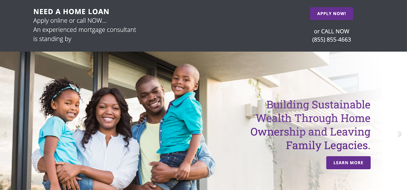 Legacy home loans website homepage featuring a family who received lending information in a sales consultation